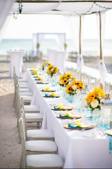 Aqua + Yellow Beach Wedding
