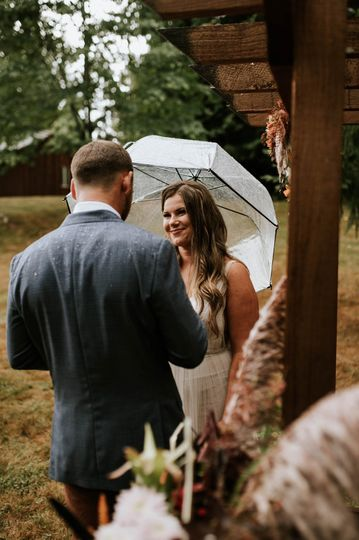 Saying vows in the rain