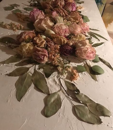 Pink and Green Floral Piece