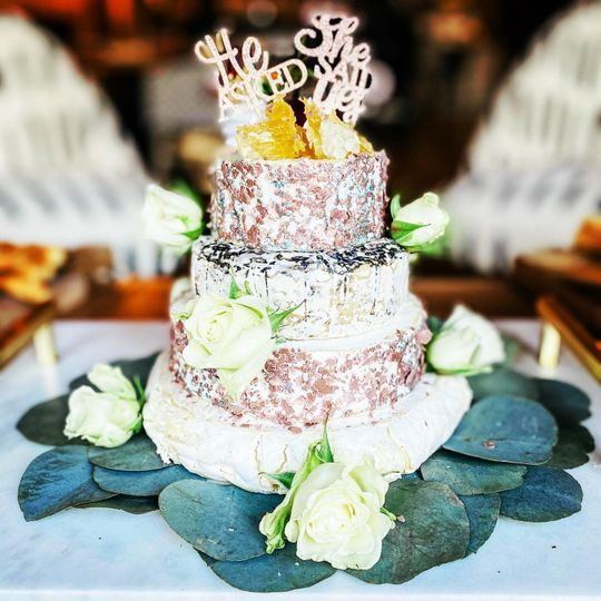 Gourmet brie engagement cake