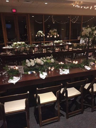 Farmhouse tables for a reception