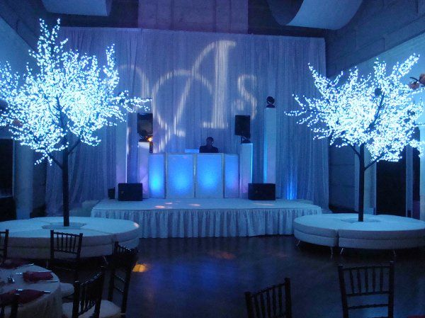 glow trees/bar and white furniture