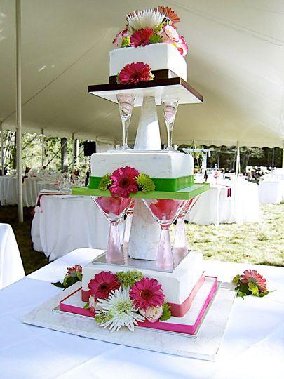 Martini Glass, fondant ribbon, fresh flowers. Red Velvet Cake, Bluberry Jam ribbon, White Chocolate...
