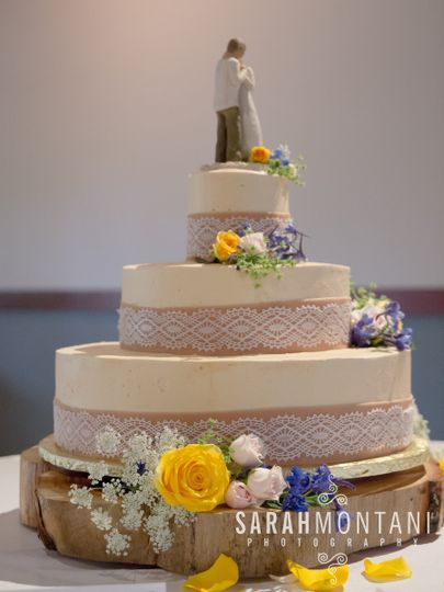 Edible lace and burlap (marzipan). Cake base is actual tree trunk. Photo by Sarah Montani...