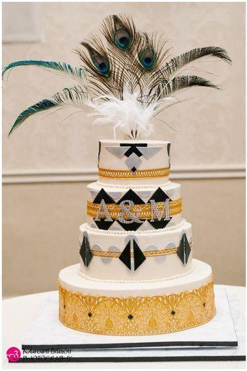Roaring 20s Speakeasy Cake: Gluten Free Golden Ale Cake, toasted mini marshmallow layer, Midnight...