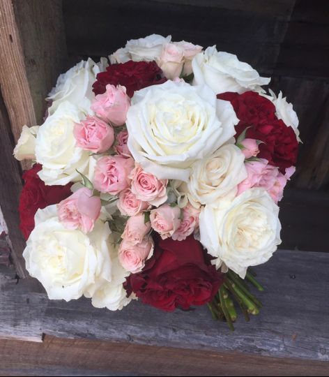 Pink Spray Roses, Red Roses, and White Garden Roses
