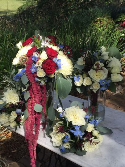 Red Amaranthus, Roses and a touch of Blue
