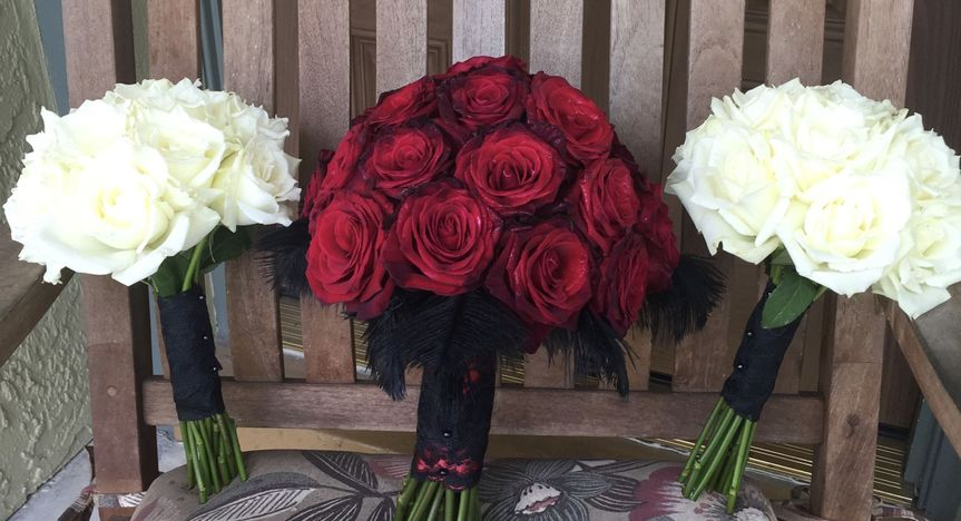 Black Bacara Roses with black feathers by Alta Fleura