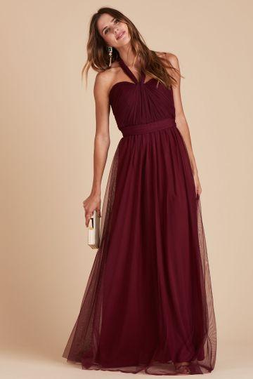 Christina Convertible Tulle Bridesmaid Dress in Cabernet | Birdy Grey