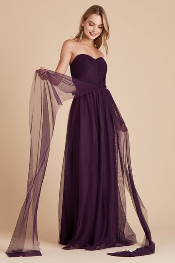Christina Convertible Tulle Bridesmaid Dress in Eggplant | Birdy Grey