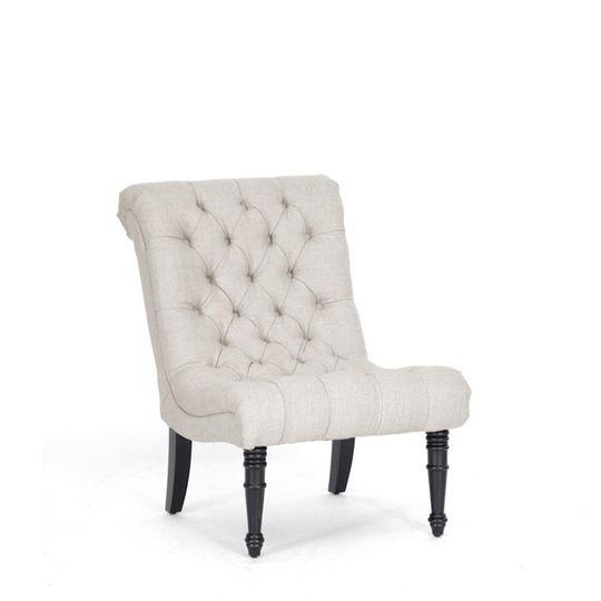 beige linen slipper chairjpg front view