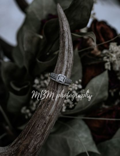 Bride's rings on antler