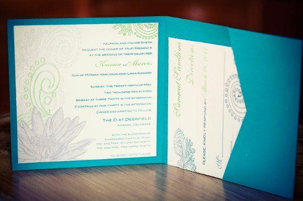 Henna lotus flower Indian Wedding Invitation