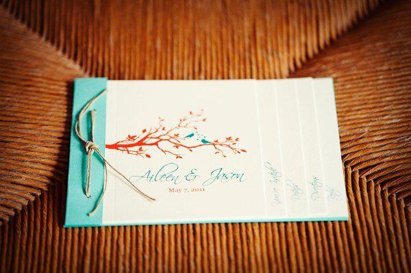 Rustic Birds in a tree booklet wedding invitation