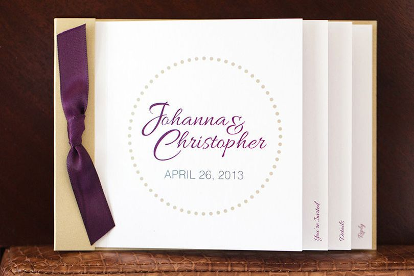 Modern polkadot booklet wedding invitation