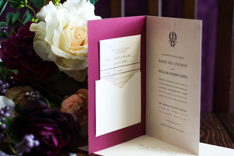 Storybook wedding invitation with library card RSVP for a Literary Wedding