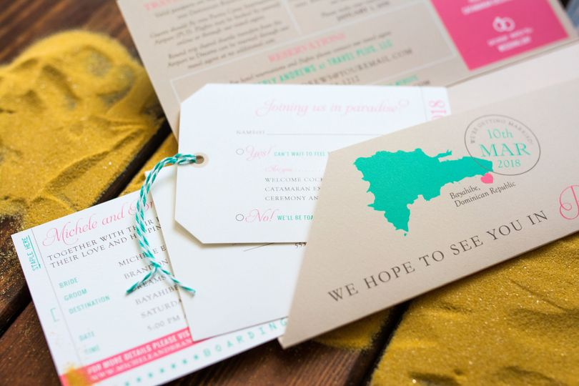 Boarding Pass Wedding Invitation with a luggage tag RSVP card for a destination wedding