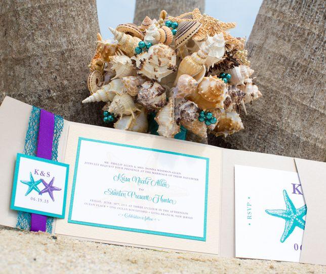 Starfish Beach Wedding Invitation