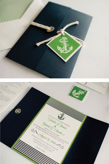 Nautical Wedding Invitation with Anchor, Rope and Grommets  Photo Credit: Jeff and Rebecca...