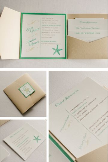 Beach Wedding Invitation with Starfish  Photo Credit: Jeff and Rebecca Photography