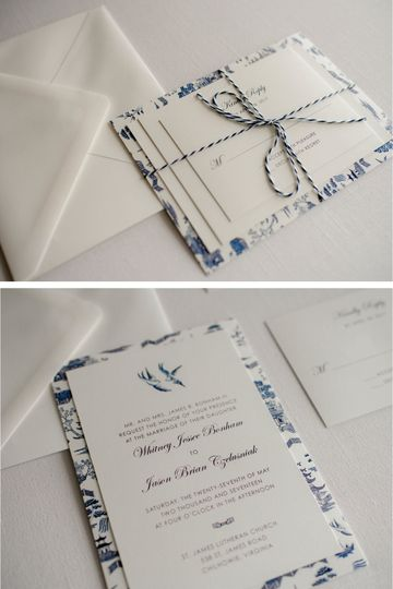 Blue Willow China Wedding Invitation  Photo Credit: Jeff and Rebecca Photography