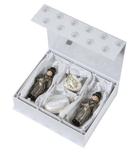 Wedding Day for Gentlemen is a new collection of four ornaments that includes two Grooms, a heart...