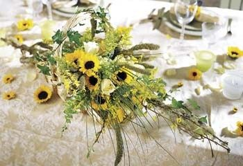 sunflower centerpiece long and low