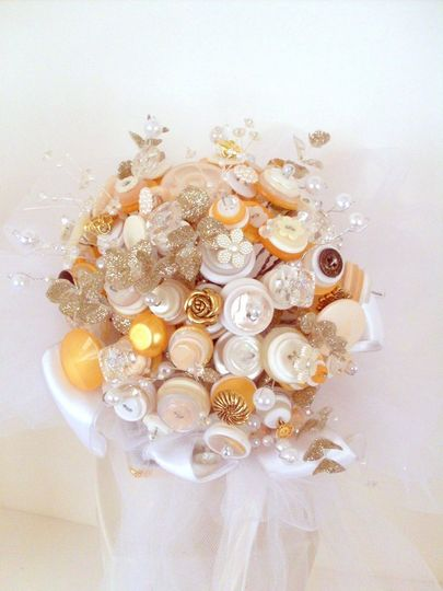 Custom button bouquet.  This is the original!  Gold, creme and white buttons with splashes of...