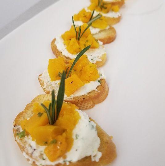 Butternut Squash on Goat Cheese Crostini
