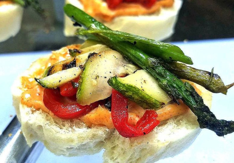 Grilled Vegetable Pintoxs. A perfect stationed item! Our client wanted a tapas and pintoxs bar...