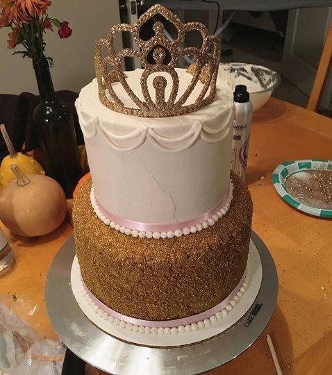 Princess and gold birthday cake.