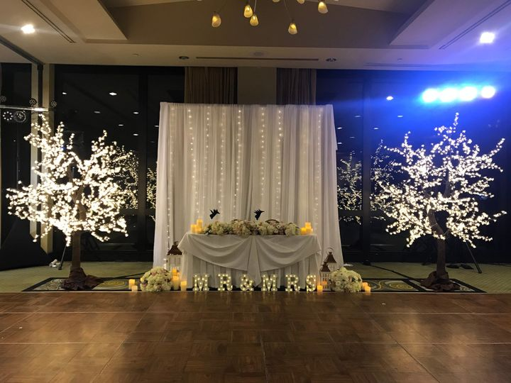 LED trees for sweetheart table