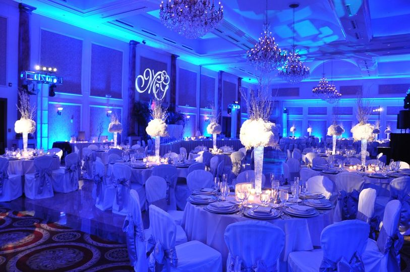 Blue uplighting for ambience