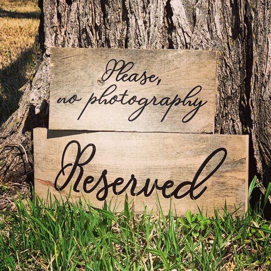 Custom wedding table signs