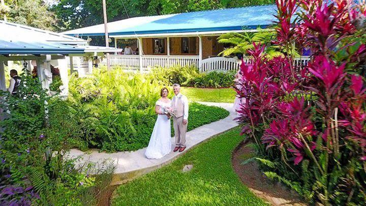 Newlyweds on walkway
