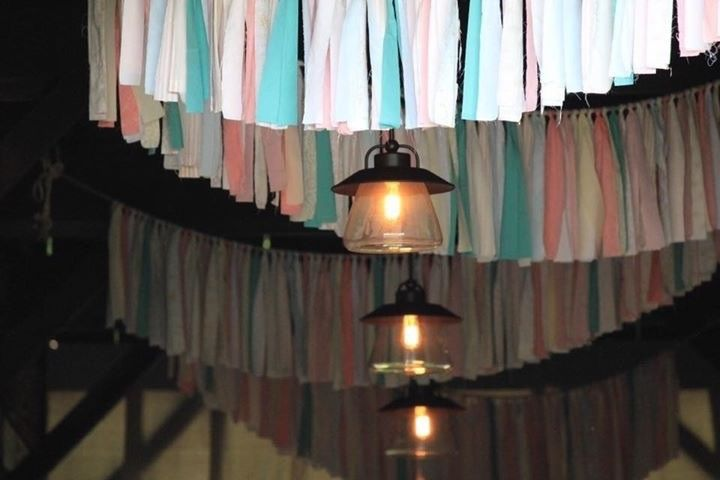 Colorful bunting across ceiling