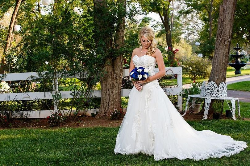 Bride with blue flowers