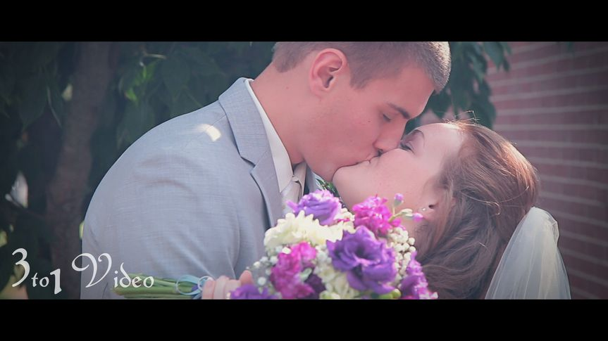 Screenshot from wedding day highlights film.