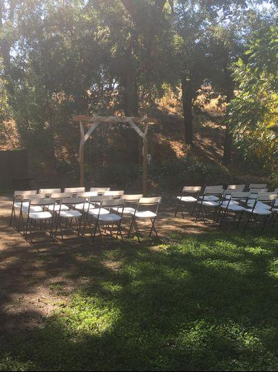 Ceremony setup and arch