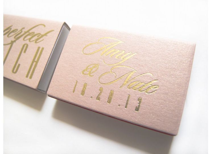 The Perfect Match Foil Stamped Wedding Favor Matchbox