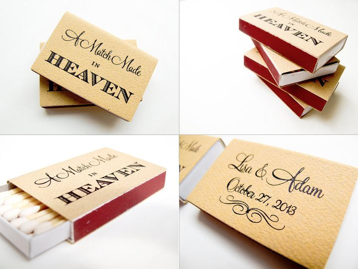 A Match Made in Heaven Foil Stamped Wedding Favor Matchbox