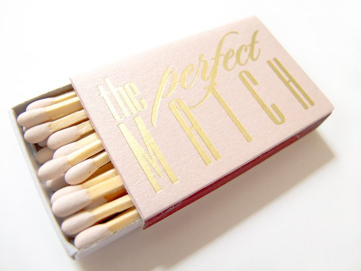the perfect match matchbox wedding favor tea and