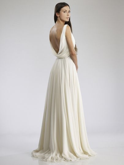 """Judy  Draped Silk Chiffon """"V""""-neck gown with cowl back."""