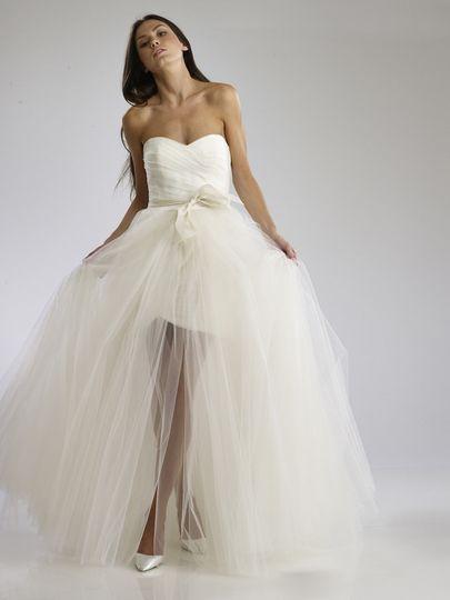 Larissa  Strapless Tulle Mini Dress with voluminous tulle overskirt.