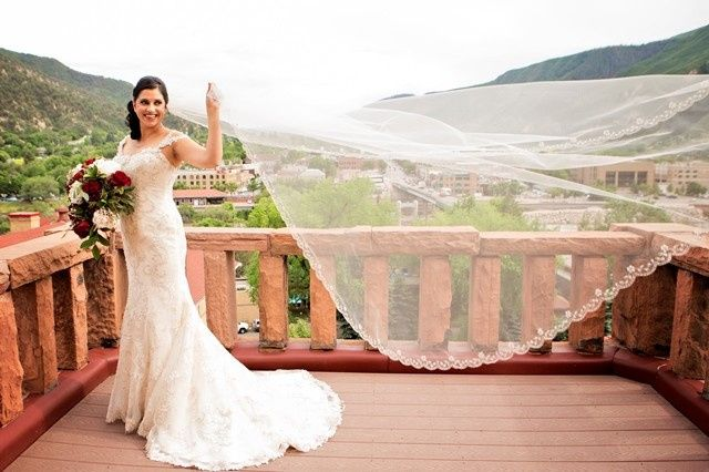 Bride at the balcony