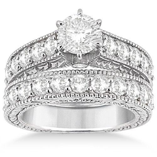 antique center 1 5 carat simulated diamond wedding