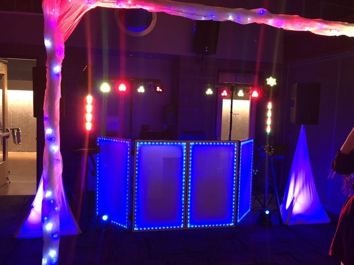 DJ booth lit up