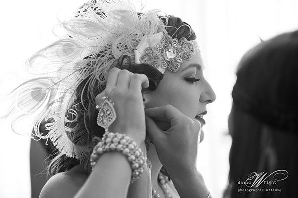 Tmx 1389969050319 1920s Style Wedding Brides Peacock Feather Headpie Harrington Park, NJ wedding beauty