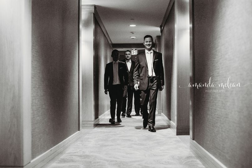 Groomsmen leave their hotel