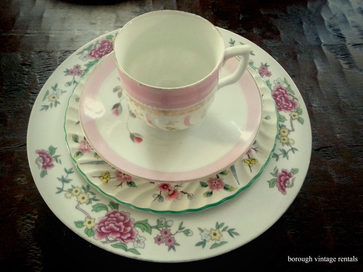 vintage china rentals pink floral